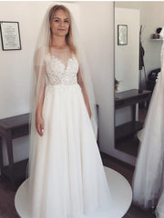 Wedding Dress 2020 A-Line Short Sleeve Floor Length Lace Tulle Bridal Gowns White scoop White Sweep Train Gown Custom Made