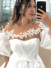 Wedding Dress 2021 Satin Lace Appliques White A-Line Gorgeous Bridal Gowns With Puffy Sleeve Unique Style Pleat Bow Graceful