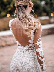 Sexy Illusion Sweetheart Lace Applique Mermaid Wedding Dresses 2021 Long Sleeves Bridal Gowns Open Back Formal White Wedding Bri