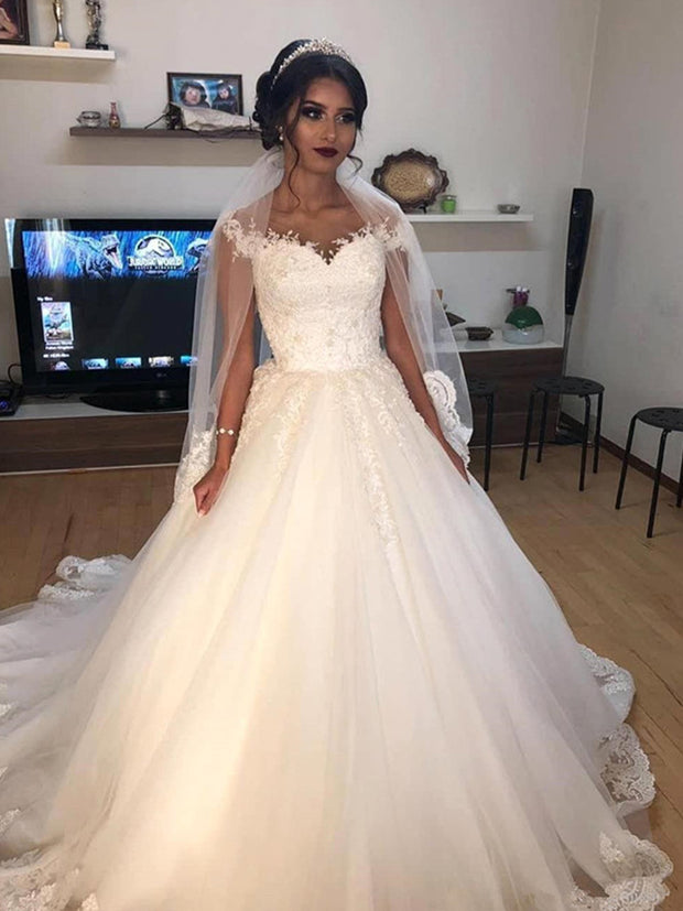 Arabic Sheer Cap Sleeves Lace A Line Wedding Dresses 2020 pearls Tulle Lace Applique Sweep Train Wedding gowns Bridal Gowns