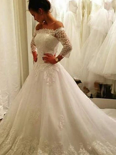 A Line Wedding Dresses With Sleeve Off The Shoulder Court Train Applique 2020 Lace Plus Size Country Bridal Gowns wedding gown