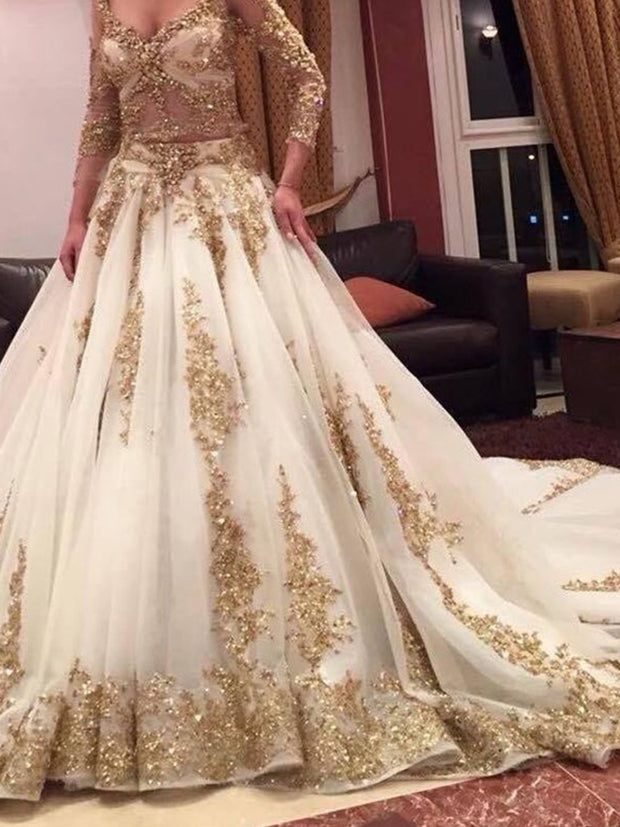 2020 Luxury Two Pieces Indian Wedding Dresses White Gold Applique Deep V-Neck Long Sleeves Bridal Gowns Custom
