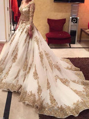 2020 Luxury Two Pieces Indian Wedding Dresses White Gold Applique Deep V-Neck Long Sleeves Bridal Gowns Custom - onlybridals