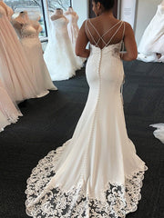 onlybridals Sexy White Mermaid Wedding Dresses African Spaghetti Neck Criss Cross Back Lace Appliques Bridal Gowns vestido de noiva