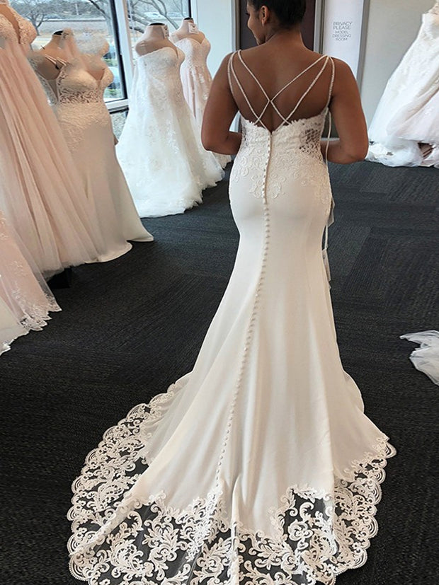 onlybridals Sexy White Mermaid Wedding Dresses African Spaghetti Neck Criss Cross Back Lace Appliques Bridal Gowns vestido de noiva - onlybridals