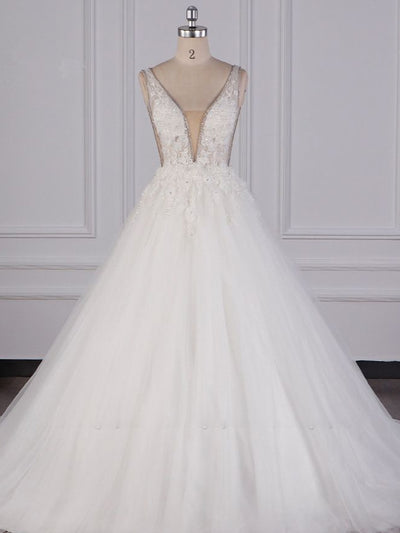 Sexy Deep-V-Neck Ball Gown Wedding Dress Sleeveless Appliques Beadings Bridal Gowns On Sale