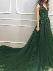 onlybridals Backless  Evening Dresses A-line V-neck Tulle Lace Green Long Elegant Evening Gown Prom  dresses - onlybridals