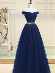 onlybridals Navy Blue Off Shoulder Tulle Floor Length Long Prom Dress, Evening Dresses