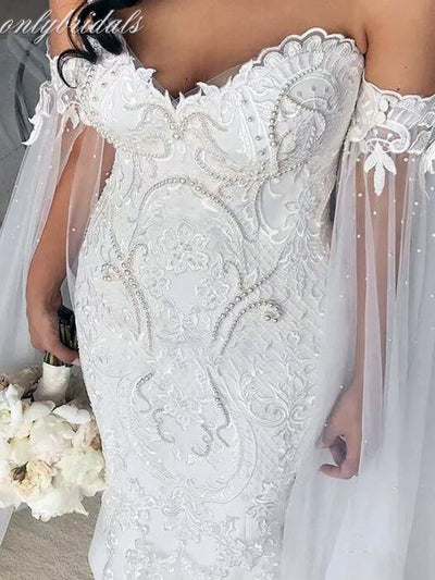 onlybridals Mermaid Wedding Dress With Long Capel Lace Empire Waist Off The Shoulder Bridal Dress