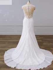 Lace Chiffon Sleeveless Bridal Gown Floor-Length Mermaid/Trumpet Wedding Dress Chapel
