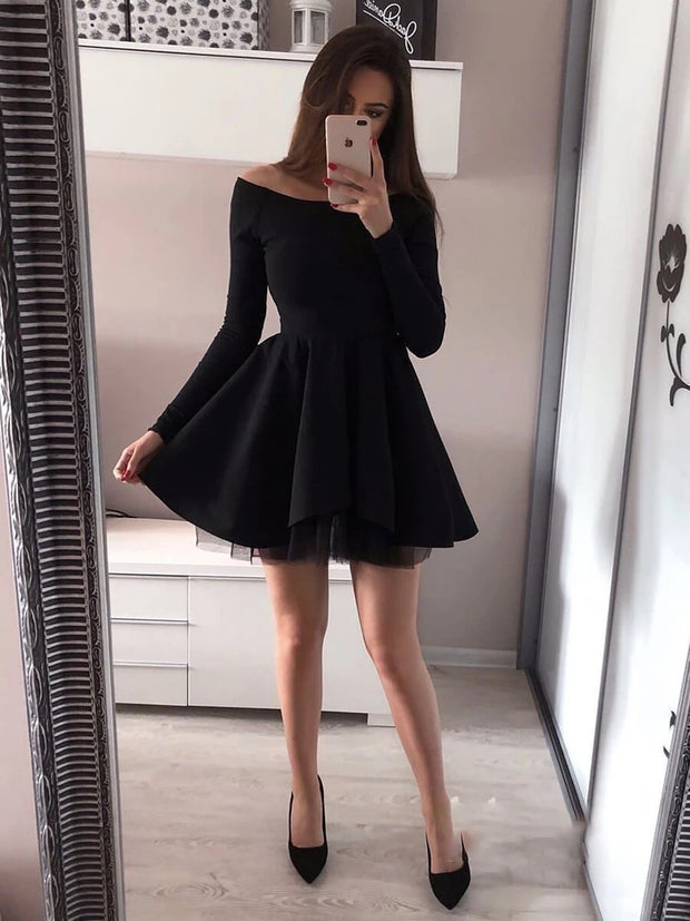 onlybridals Black one-shoulder back to school short dress