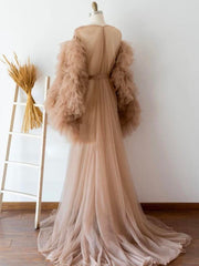 Champagne Tulle Maternity Women Dresses Ruffles Tiered Long Sleeves Full Sleeves Tulle Robe Women Dress Bridal Robe