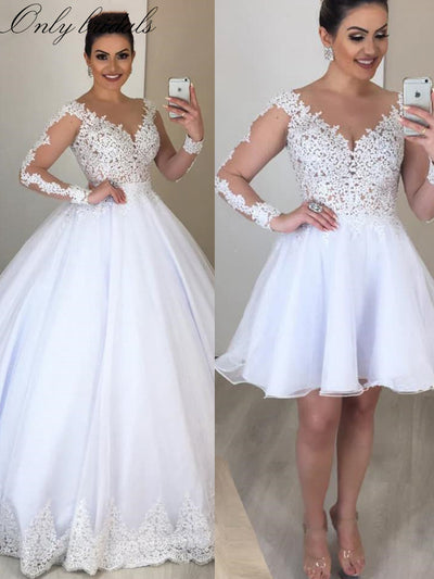onlybridals  Gown Wedding Dresses with Detachable Skirt 2 in 1 Long Sleeve V Neck Lace Wedding Gowns Bride Dress