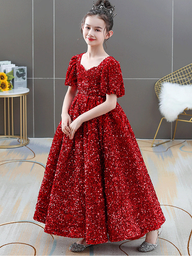 Sequin Long Flower Girl Dresses Short Sleeve Shiny Ball Gown Wedding Party Dresses