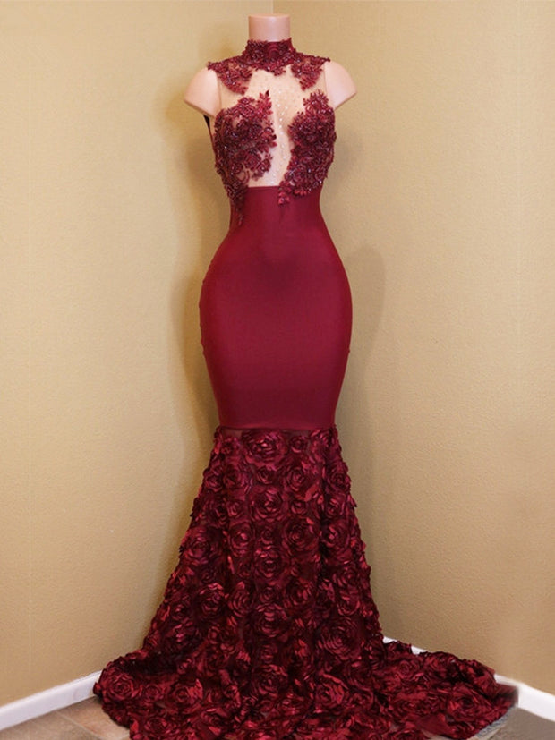 onlybridals Burgundy Muslim Evening Dresses Mermaid High Collar Lace Beaded Long Evening Gown Prom Dress - onlybridals