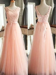 onlybridals Pink A-line Tulle Scoop Neck Long Prom Dresses, Pretty Formal Dress