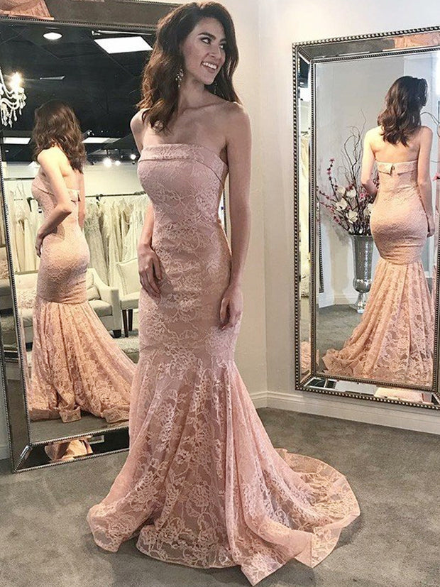 onlybridals Elegant Evening Dresses Mermaid Strapless Lace Backless Long Elegant Evening Gown - onlybridals