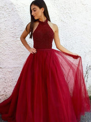 onlybridals Red Tulle A-line Beaded Halter Long Prom Dresses Elegant Evening Gown