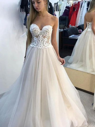 White A-line Sweetheart Tulle Lace Long Wedding Dresses