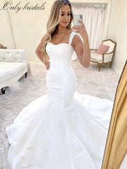 Simple Mermaid Wedding Dresses Spaghetti Straps Satin Wedding Gowns Lace Up Back Bridal Gowns