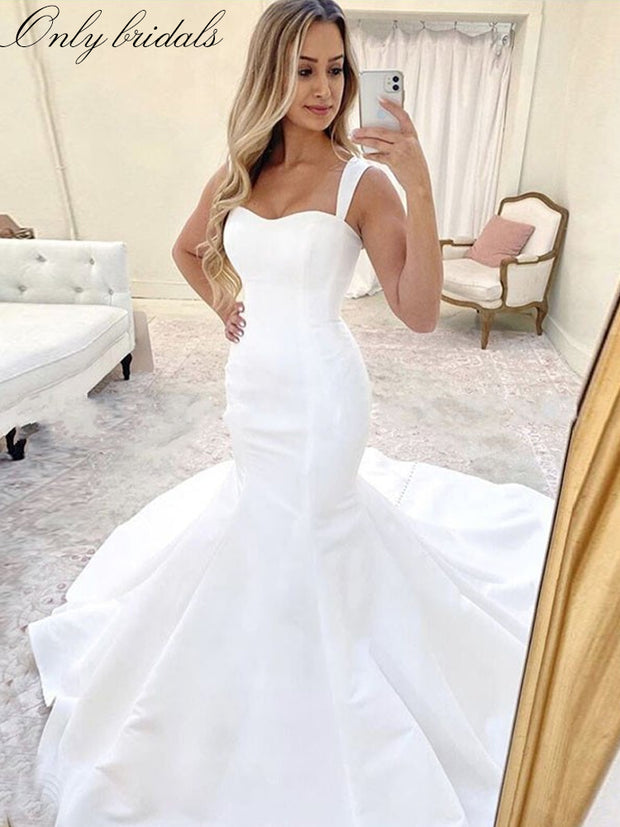 Simple Mermaid Wedding Dresses Spaghetti Straps Satin Wedding Gowns Lace Up Back Bridal Gowns - onlybridals
