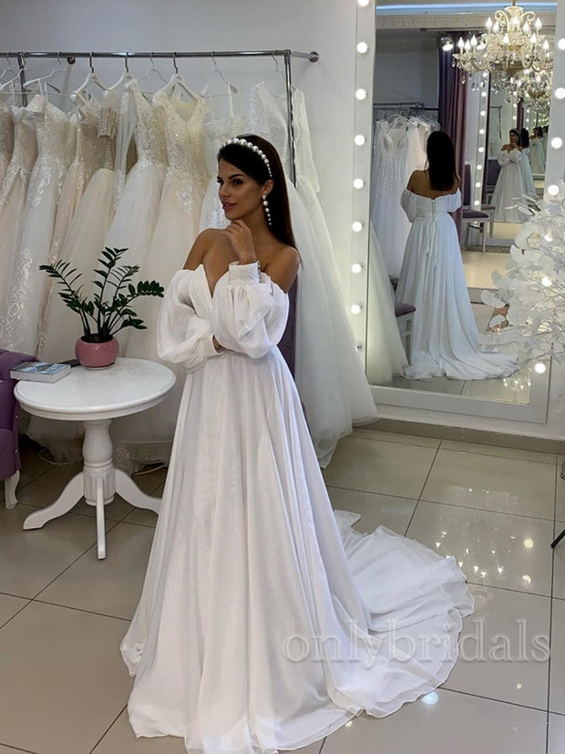 CWedding Dress Sweetheart Long Sleeve Simple A-Line Chiffon Bridal Gown
