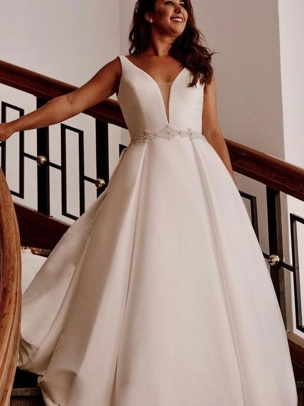A-line Plus Size Wedding Dresses with Beaded Belt