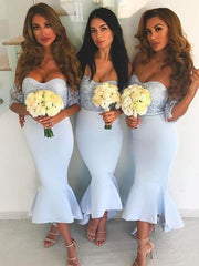 Baby Blue Sheath Bridesmaid Dresses Sweetheart Lace Bodice Hilo Bridesmaid Gowns Prom Party Dress