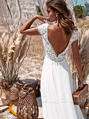 onlybridals Bohemian Wedding Dress Vintage Lace Boho 2021 A-Line Simple Beach Bridal Gowns Chiffon Floor Length V-Neck