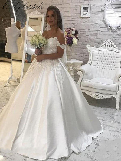 onlybridals White Satin Lace Appliques Ball Gown Wedding Dresses off the shoulder Wedding Gowns Bride Dresses