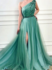 onlybridals Mint Green Evening Dresses A-line One-shoulder Tulle Beaded Slit Long Formal Evening Gown