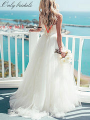 onlybridals Spaghetti Strap Beach Wedding Dresses 2020 Vestido Noiva Praia Simple White Tulle Casamento Sashes Bridal Gown Custom made