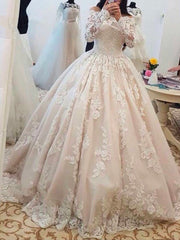 onlybridals Luxury Plus Size Long Sleeve Wedding Dress Elegant Boat Neck Backless Ball Gown Bridal - onlybridals