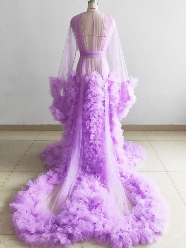 onlybridals Light purple maternity gown strapless lotus leaf tulle dress photo shoot dress short maternity dress