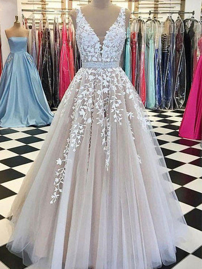 onlybridals Evening Dresses A-line V-neck Tulle Lace Formal Long Elegant Evening Gown Prom