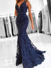 onlybridals Navy Blue Evening Dresses 2019 Mermaid V-neck Lace Beaded Formal Long Elegant Evening Gown