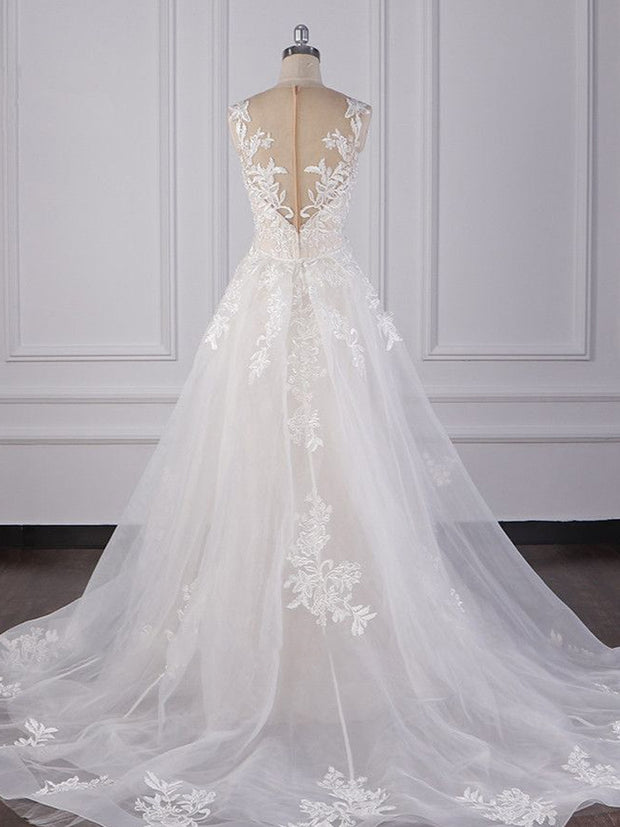 Elegant Jewel Tulle Lace Wedding Dress Appliques Sleeveless Mermaid Bridal Gowns Online