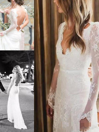 onlybridals Lace Mermaid Wedding Dresses Long Sleeve Bohemian Garden Country Bridal Gown Deep V Neck 2020 Backless - onlybridals