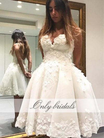 onlybridals Short Graduation Dresses Length Handmade Flowers Beaded Sweetheart Zipper Back Homecoming Dresses - The Only Love Wedding Dress