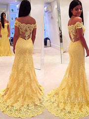 onlybridals Yellow Lace Mother of the Bride Dresses Charming mermaid Off Shoulder Applique Beaded Sweep Train Formal Gowns - onlybridals