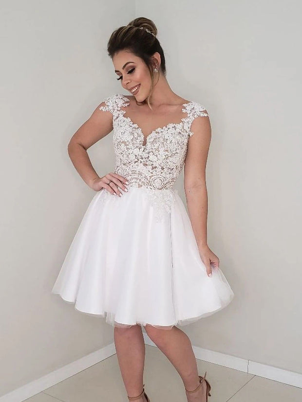 Princess Short A-line Sweetheart White Lace Wedding Dress