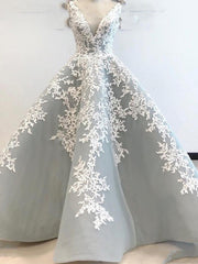 onlybridals Silver Evening Dresses Ball Gown V-neck Tulle Appliques Long Evening Gown Prom Dress