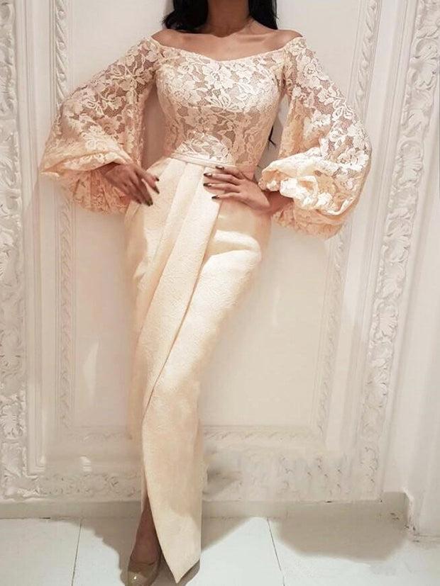 onlybridals Evening Dresses Mermaid Long Sleeves Lace Slit  Long Evening Gown Prom Dress