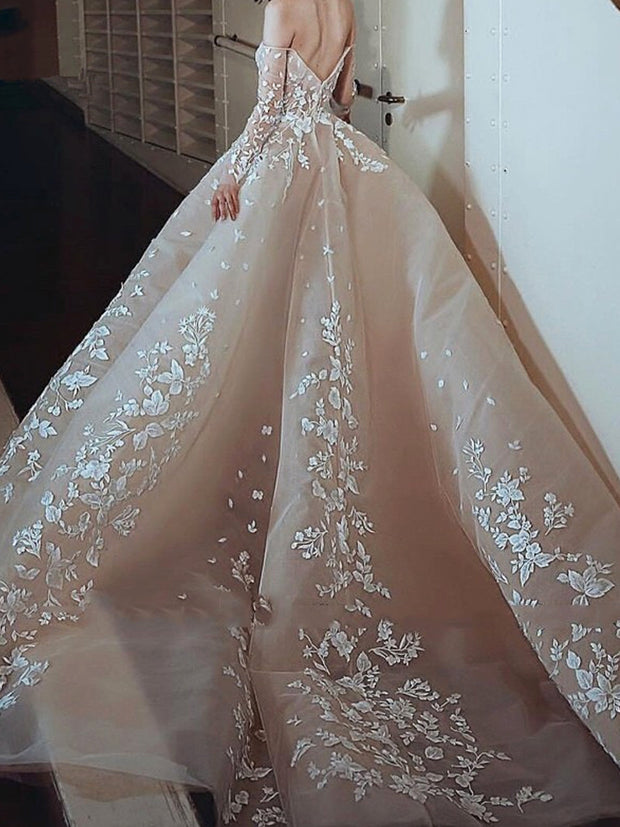 onlybridals Elegant Evening Dresses Ball Gown Sweetheart Tulle Lace Backless Long Evening Gown - onlybridals