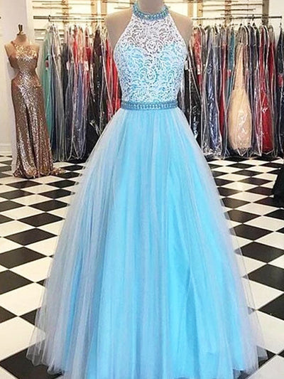 onlybridals Blue Tulle Sleeveless A Line Halter Lace Bodice Prom Dresses Evening Dresses