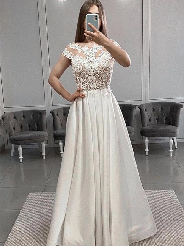 onlybridals White Lace Long Prom Dresses with Slit, White Lace Formal Graduation Evening Dresses