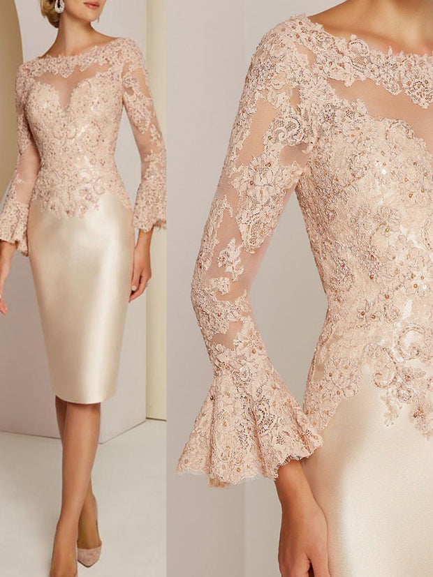 onlybridals Gorgeous Short Champagne Lace Long Sleeve Mother of the Bride Dresses