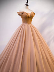 Golden strapless sparkling tulle lace long ball gown champagne evening gown