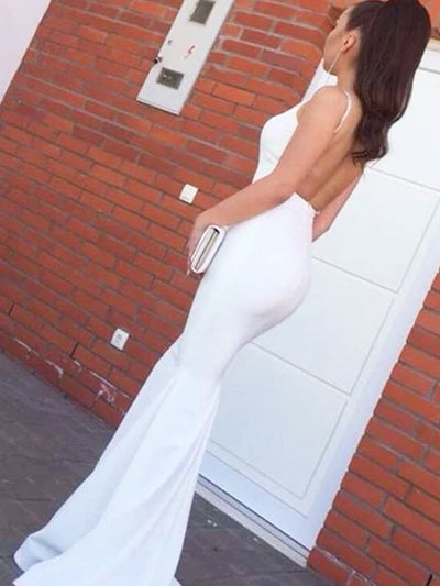 onlybridals Simple White Backless Spaghetti Straps Mermaid Prom Dresses, Evening Dresses