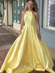 onlybridals Yellow Satin Beaded Long Prom Dresses Yellow Formal Graduation Evening Dresses